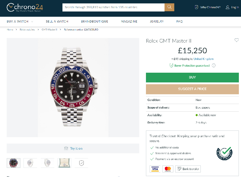 05571833f5ba1 The same GMT Master II that Bucherer.com has listed for £6800 is being  offered on Chrono24.co.uk for £15,250. Tags : GovbergRolexWatchbox. previous  article