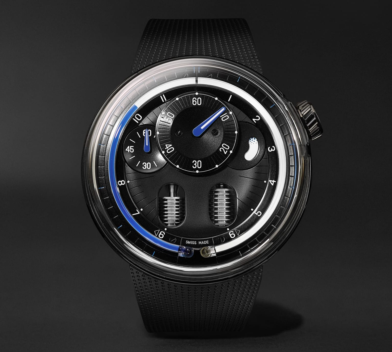 H0 Hand-Wound 48.8mm Stainless Steel and Rubber Watch_1193179_mrp_in